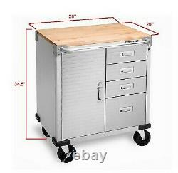 Stainless Steel 4 Drawer Rolling Tool Chest Box Toolbox Cabinet Wood Top