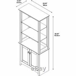 Tall Library Storage Cabinet with Doors and Glass Shelving in Madison Cherry NEW