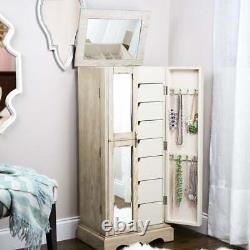 Taupe Wood Metal Freestanding Mirrored Jewelry Armoire Storage Chest Box Cabinet