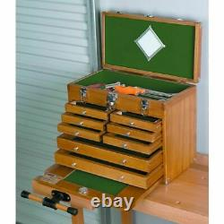 Tool Box Storage Chest or Wood Jewelry Cabinet 8 Drawer Felt Lined Walnut Stain