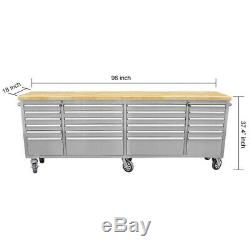 Tool Chest Work Bench Cabinet Pegboard Garage Storage Rolling Cabinet 24 Drawers