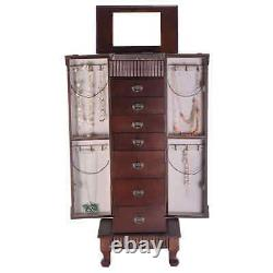 Topbuy Jewelry Cabinet Armoire Cambered Front Storage Chest Stand Organizer