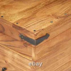 USA Solid Acacia Wood Chest 35.4 Bench Hall Wooden Cabinet Storage Box