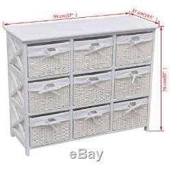 VidaXL Storage Cabinet Akron White Drawer Woven Baskets Home Office Side Chest