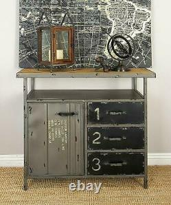 Vintage Industrial Metal Cabinet Storage Chest Console Table Drawers Gray-Brown