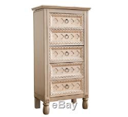 Vintage Jewelry Armoire White Chest Box Tall Storage Cabinet Stand Wood Organize