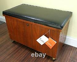 Vintage LANE Record Storage Cabinet Bench Chest Footrest Ottoman on Wheels withKey