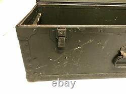 Vintage Military FOOT LOCKER storage trunk chest luggage GREEN wood box us wwii