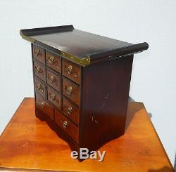 Vintage Oriental Asian Apothecary Table Top Chest of 11 Drawers Storage Cabinet