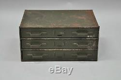 Vtg Small Military Green Steel Metal 3 Drawer Storage Tool Chest Industrial 17