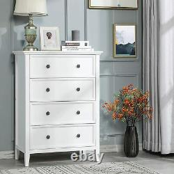 White 4 drawer dresser table shelf cabinet storage home Chest of Drawers