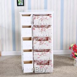 White Wood Dresser Chest Cabinet with5 Drawers 5 Baskets Storage Bedroom Furniture