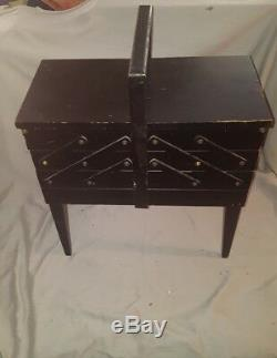 Wood Fold Out Sewing Box Basket Vintage Cantilever Cabinet Storage Chest