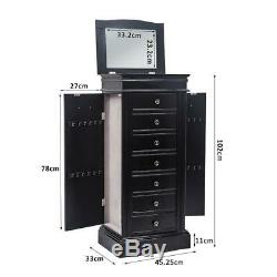 Wood Jewelry Cabinet Armoire Box Large Storage Space Chest Stand Holder Black