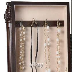 Wood Jewelry Cabinet Armoire Box Storage Chest Stand Organizer Necklace
