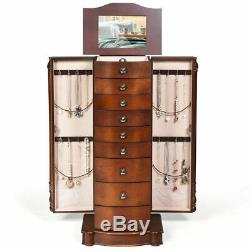 Wood Jewelry Cabinet Armoire Storage Chest Stand Organizer for Christmas Gift