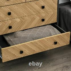 Wooden 5-Drawer Storage Cabinet Chest with Metal Handles Bedroom Living Room