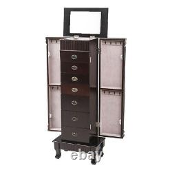 Wooden Jewelry Armoire Cabinet Box Storage Chest Stand Organizer Christmas Gift