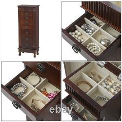 Wooden Jewelry Cabinet Armoire Box Storage Chest Stand Organizer Christmas Gift