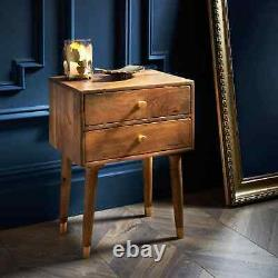 Wooden Nightstand Bedside Table 2 Drawers Chest Side Cabinet Storage Mango Wood