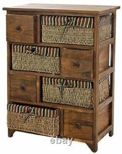Wooden Wicker Maize Cabinet Unit Shabby Chic Retro Chest Drawer Storage Bedroom