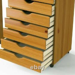 7-tiroirs Table De Couture Cabinet Coffre Craft Storage Organisateur Rolling Office Wood