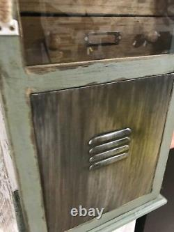 Armoire De Rangement Industrial Wooden Unit Distressed Wall Mountable Cabinet 6 Tiroirs
