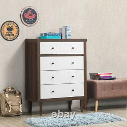 Costway Modern 4 Tiroir Commode Commode Wood Chest Storage Cabinet Organizer Stand Gratuit