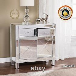 Glam Mirrored Chest Console End Table Side Accent Storage Cabinet Drawer Argent