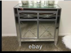 Glam Mirrored Chest Console Table Accent Armoire De Rangement Buffet Nightstand Chic