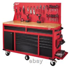 Tool Chest Work Bench Cabinet Pegboard Top 61in Rolling Garage Storage Milwaukee