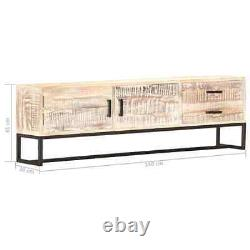 Vidaxl Solid Acacia Wood Tv Cabinet White Tv Stand Console Table Storage Chest